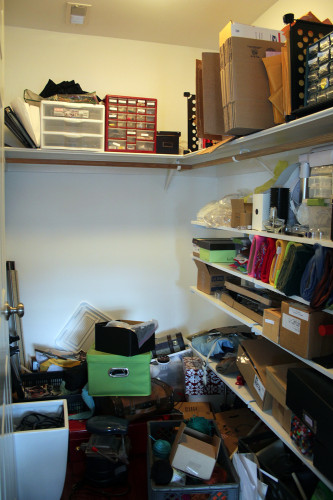Not shown: piles of boxes outside the closet