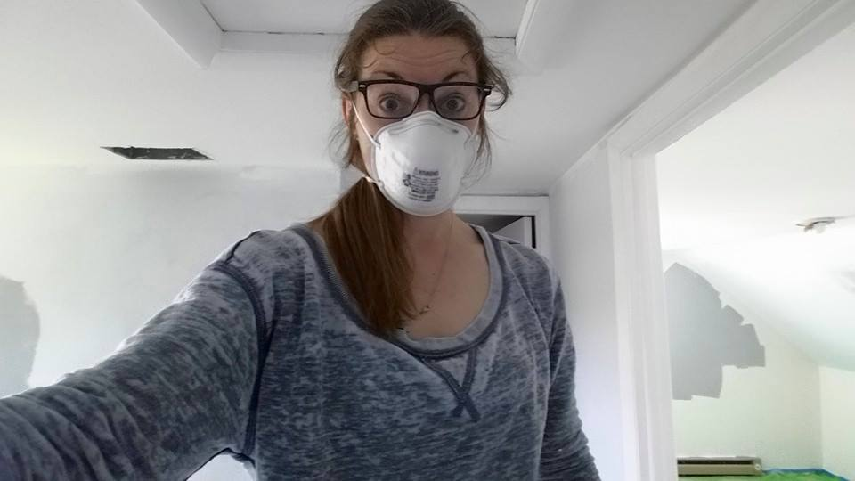 My sister-in-law, sanding trim forever.