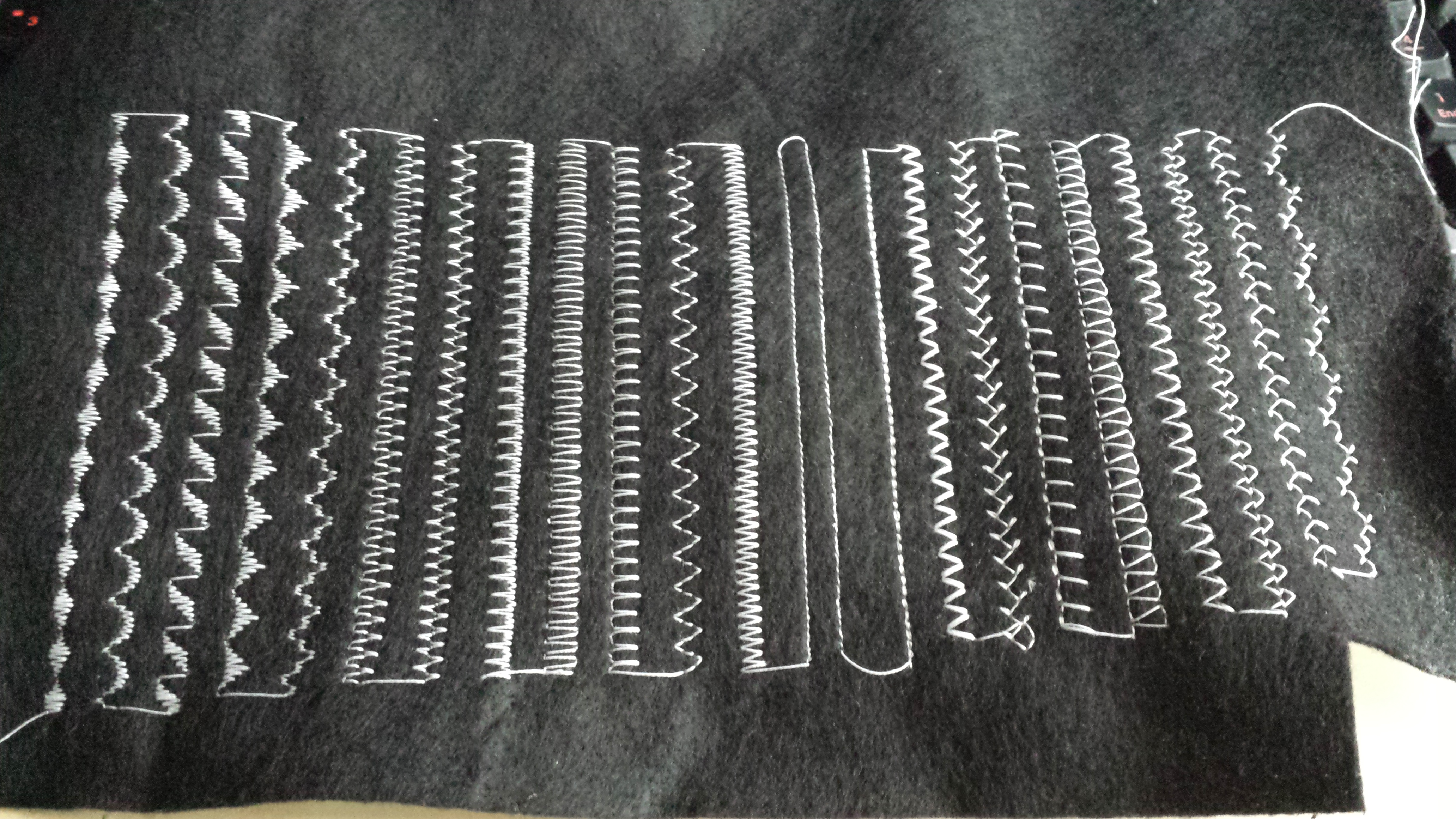 A swatch of all the different stitch patterns on the machine.