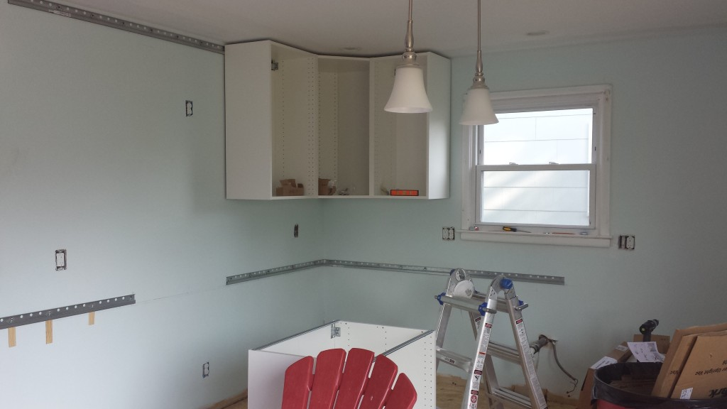 Corner unit and flanking units hung