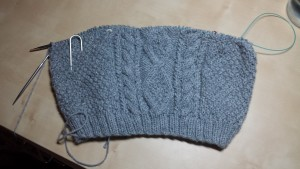 Cable knit sweater for my nephew. 1 ball used.
