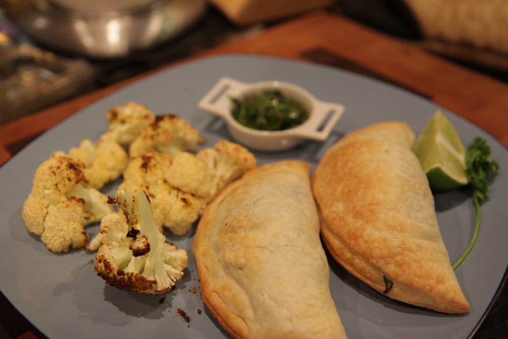 Cauliflower, samosas, and chutney