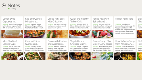 Some of my recipes in Evernote Touch